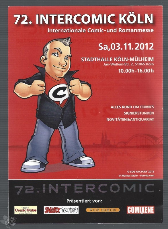 Eintrittskarte 72. INTERCOMIC 3. Nov. 2012 Götze Köln