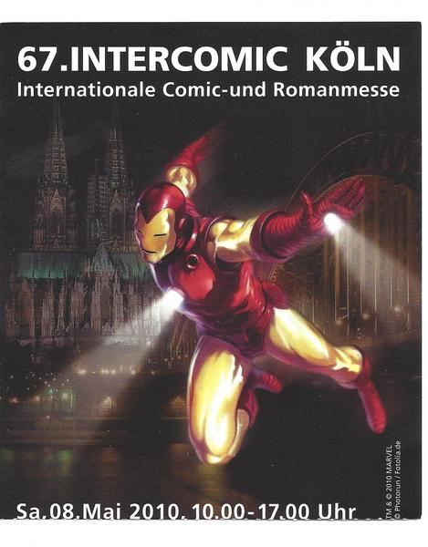 Eintrittskarte 67. Intercomic - IRON MAN Cover Internationale dt. Comic Messe 2010
