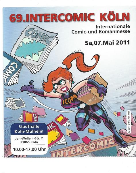 Eintrittskarte 69. Intercomic - Martin Frei ICOM Cover Internationale dt. Comic Messe 2011